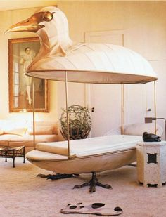 Canopy bed sculpture by Francois Lalanne in an early Paris apartment living room of designer Jacques Grange