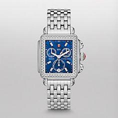 Deco Diamond, Blue Diamond Dial Watch