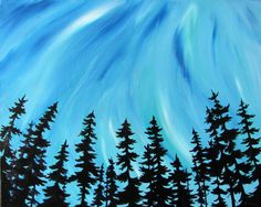 """""""Northern Lights"""" by Jane Thuss. 16.00""""x20.00"""" Acrylic on Canvas, unframed."""