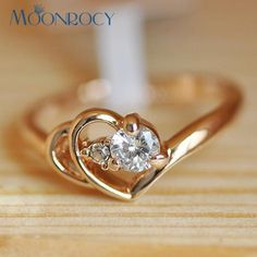 [Visit to Buy] MOONROCY Free Shipping Jewelry Cubic Zirconia Rose gold color Wedding Austrian Crystal Rings fashion heart ring for women gift #Advertisement