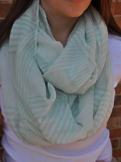 mint spring scarf and a white t-shirt. Perfect for the transitional weather!