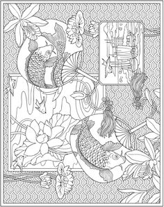 Escapes Collage Art Coloring Book Page Freebie | New Dover Publications Adult Coloring Book Series | Underwater Koi Fish