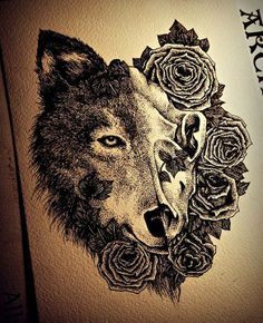 half wolf, the other half be a rose same size with some petals covering part of wolf nose, three smaller roses incorporated around that design, black & white