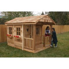 6 x 9 Sunflower Playhouse - Additional Features Gorgeous double Dutch door Porch measures 3 feet Charming, designer shingled gable Hardware for assembly is included Sandbox...