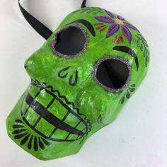 Colorful Mexican Paper Mache Day of the Dead Skull Masks