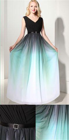 Newest Ombre V-Neck Long Prom Dress Evening Dress