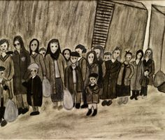 Student artwork from the Terezin deportation scene of the Holocaust documentary, Misa's Fugue (www.misasfugue.com)
