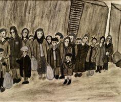Student artwork from the Terezin deportation scene of the Holocaust documentary, Misa's Fugue (www.misasfugue.com)