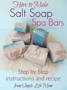 How to Make Natural Salt Soap Bars - homemade soap Soap Making Recipes, Homemade Soap Recipes, Homemade Paint, Homemade Bath Bombs, Savon Soap, Soap Making Supplies, Bath Soap, Natural Salt, Lotion Bars