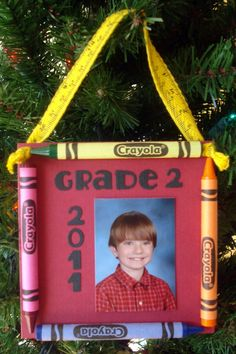 "Each ornament is approximately 4 1/4"" X 7 1/4"". Crayola crayons and ruler twill add darling school embellishments. Each carefully constructed for durability, for use year after year and comes photo ready...simply remove the white ""school photo here"" paper and attach your small wallet-sized photo or any photo trimmed to the size of the white paper."