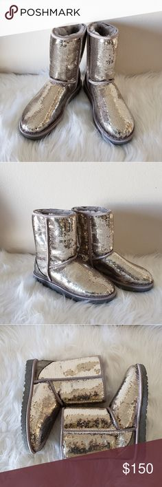 "UGG LIGHT GOLD SPARKLING SEQUIN SHORT BOOTS SZ 8 100% BRAND NEW NO BOX    A glitter-infused sole and rows of shimmering sequins cast an iconic style in a glamorous new light.   The soft, cozy lining is made from genuine shearling or plush UGGpure(TM), a textile made entirely from wool that feels and wears like genuine shearling. Either version keeps feet warm and comfortable, whatever the weather.   Sequin construction  Pull-on  Genuine shearling and UGGpure(TM) lining  Approx. 8"" shaft…"