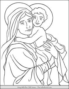 Mary with The Child Jesus coloring page. Disney Coloring Sheets, Free Coloring Sheets, Free Printable Coloring Pages, Jesus Coloring Pages, Coloring Pages To Print, Coloring Pages For Kids, Catholic Kids, Catholic Saints, Coloring Pictures For Kids