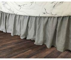New to CustomLinensHandmade on Etsy: Stone Grey bed skirt in natural linen grey bed ruffles grey dust ruffles bed skirts grey bedding (157.00 USD)