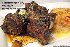 Mediterranean Dry Goat Rub, Order now, FREE shipping     Home Farm Herbery's Organic, Chemical-free Mediterranean Dry Goat Rub makes an excellent meat rub for goat or kids roasts or chops.     At Home Farm Herbery we are always striving to make our blends better and our special Mediterranean Dry Goat rub has been improved and contains a subtle blend of organic paprika, pepper, brown sugar, chili powder, onion powder, sea salt, curry powder, cayenne pepper, rosemary and sage t...