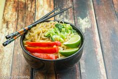 Japanese Udon Noodle Bowls have the most drinkable broth and are very filling! Just twenty minutes from start-to-table.