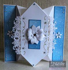 Angela Clerehugh - Die'sire Christmas Edge'ables – Snowflake, Centura Pearl Card, Bebunni Designer Paper Pad (Christmas), Die'sire Poinsettia Die, Gems, Collall 3D Glue Gel, Crafter's Companion Tape Pen - #crafterscompanion #Christmas