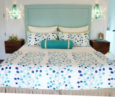 """Great pillow placement  on a double bed with 2 Euroshams, 2 standard pillows and a 24"""" bolster in front."""