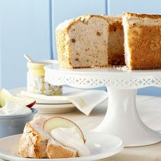 Apple-Spice Angel Food Cake Recipe -I dressed up an angel food cake mix with some nuts, spice and applesauce to make an easy and light dessert. I serve it with a dollop of whipped topping mixed with a half cup of sour cream. —Joan Buehnerkemper, Teutopolis, Illinois