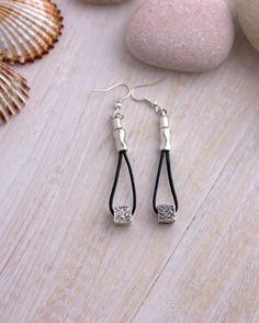 8826e9a21fc8 Silver cubes earrings Drops Dangle earrings Everyday Women jewelry Black  Leather Modern silver vintage cubes beads earrings