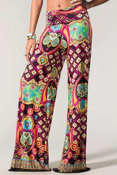 WIDE LEG BOHO VINTAGE PRINT PALAZZO PANTS at Jolie Styles