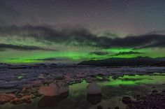 The Northern Lights, over the Jokulsarlon Lagoon