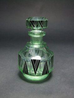 Large Green Scent Bottle by Palda  Black enamelled scent bottle by Karel Palda. 5.25 inches tall.
