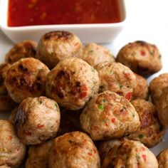 Thai Spiced Mini Chicken Meatballs. These are packed with wonderful Thai flavours: Garlic, ginger, chilli and coriander.