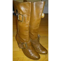 BCBG HEEL KNEE BOOTS Super cute see all pics. Some peeling inside. Great with a dress or skinny jeans BCBGeneration Shoes