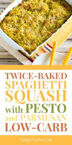 Twice-Baked Spaghetti Squash Recipe with Pesto and Parmesan is a perfect low-carb side dish when you're craving pasta with pesto. And this low-carb spaghetti squash dish is also Keto, low-glycemic, gl Diet Recipes, Vegetarian Recipes, Cooking Recipes, Healthy Recipes, Recipes With Pesto, Lunch Recipes, Vegetable Side Dishes, Vegetable Recipes, Pesto Spaghetti Squash