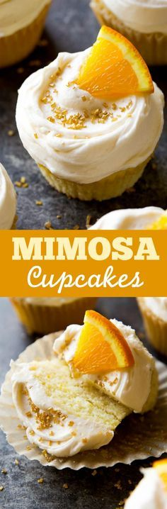Cheers! Soft and fluffy mimosa cupcakes with champagne frosting recipe on http://sallysbakingaddiction.com