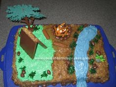 Homemade Camp Birthday Cake: I got most of my ideas for this camp birthday cake from this website so I thought it would be good to share the results!  My son wanted a German chocolate