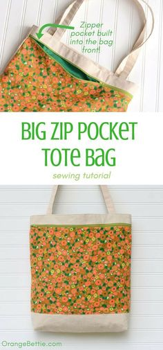 Diy Sewing Projects Big Zip Pocket Tote Bag - Sewing Tutorial - See how to sew a handy tote with a big zipper pocket across the front! Sewing tutorial with step by step instructions for the Big Zip Pocket Tote Bag. Easy Sewing Projects, Sewing Projects For Beginners, Sewing Hacks, Sewing Tutorials, Sewing Tips, Tote Bag Tutorials, Tutorial Sewing, Sewing Basics, Bag Sewing