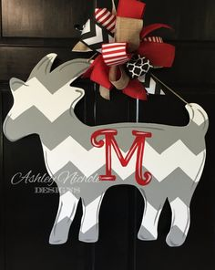 Items similar to Goat Door Hanger on Etsy Wooden Doors, Wooden Signs, Wooden Crafts, Diy And Crafts, Cork Crafts, Stall Decorations, Goat Barn, Burlap Door Hangers, Country Crafts