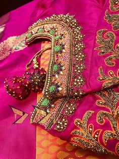 All Ethnic Customization with Hand Embroidery & beautiful Zardosi Art by Expert & Experienced Artist That reflect in Blouse , Lehenga & Sarees Designer creativity that will sunshine You & your Party Worldwide Delivery. Wedding Saree Blouse Designs, Silk Saree Blouse Designs, South Indian Blouse Designs, Maggam Work Designs, Stylish Blouse Design, Designer Blouse Patterns, Indie, Work Blouse, Diana