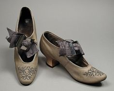 c.1895 Suede with cut steel beads shoes, LACMA Collections Online