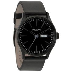 This Sentry timepiece from Nixon provides a black stainless steel case atop a sleek black leather strap with buckle closure. The black dial of this bold watch includes black hour markers, black hands and a day and date display at 3 o'clock.