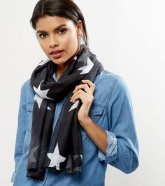 Black Star Print Longline Scarf | New Look