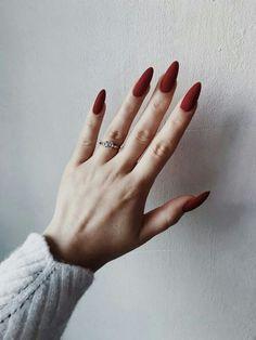 Trendy nail polish colors e. The year 2019 - Trendy nail polish colors e. The year 2019 # nail polish colors - Red Acrylic Nails, Matte Nails, Acrylic Art, Matte Almond Nails, Elegant Nail Art, Almond Shape Nails, Nagel Gel, Nail Polish Colors, One Color Nails