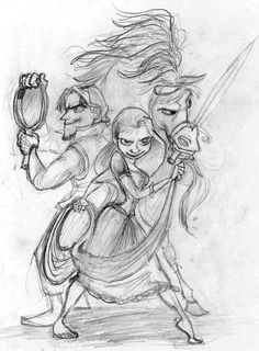 Rasmus Najbjerg. Pencil. Flynn Rider, Rapunzel and Maximus from Disney's Tangled.