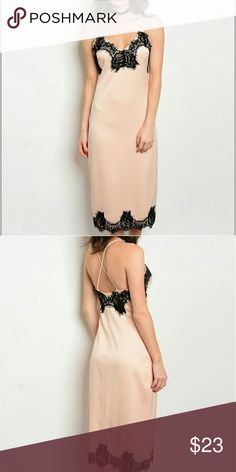 """'Bordure en dentelle' Lace trim slip dress. Black lace details over nude satin feel with spaghetti straps.  Midi length. 92%Polyester 8%spandex.   Length 45"""" Bust 30"""" Waist 26""""  Price firm! No trades.   Please allow 5-7 business days for shipping from time of purchase! Dresses Midi"""