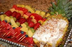 Fruit Kabobs & Yummy Coconut Pineapple Dip    2 TBS. virgin coconut oil  1/2 c. frozen pineapple juice concentrate  8 oz. cream cheese  1/2 c. coconut flakes    Mix above ingredients until smooth. Put in a bowl to serve the dip, topping with Fruit Kabobs