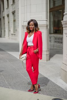 cranberry tantrums: Caped in Red|| Red pant suit
