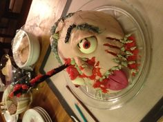 Zombie head cake for The Walking Dead viewing party!