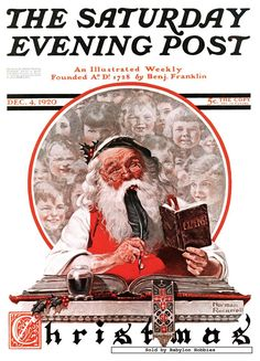 Norman Rockwell - Santa And Expense Book - The Saturday Evening Post - By: Norman Rockwell - December 04, 1920