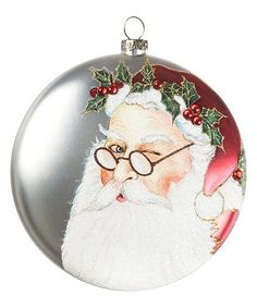 Look at this Santa Glass Disk Ornament Christmas Trends, Christmas And New Year, All Things Christmas, Christmas Time, Christmas Bulbs, Christmas Decorations, Holiday Decor, Father Christmas, Merry Christmas