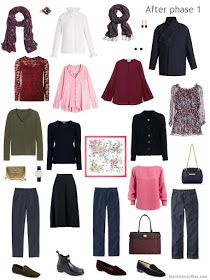 Autumn/winter capsule wardrobe in navy, burgundy, pink and green