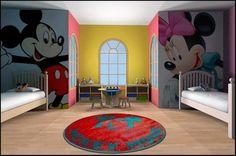 mickey and minnie - quarto compartilhado de menino e menina
