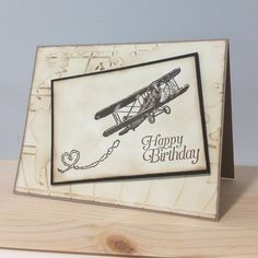 """By Amanda Corbet. Features plane stamp from """"Sky is the Limit"""" and """"World Traveler"""" embossing folder, both by Stampin' Up."""