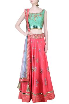 Green zardozi embroidered floral blouse and lehenga set available only at…