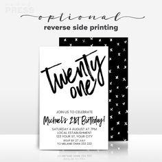 black and white birthday invitations